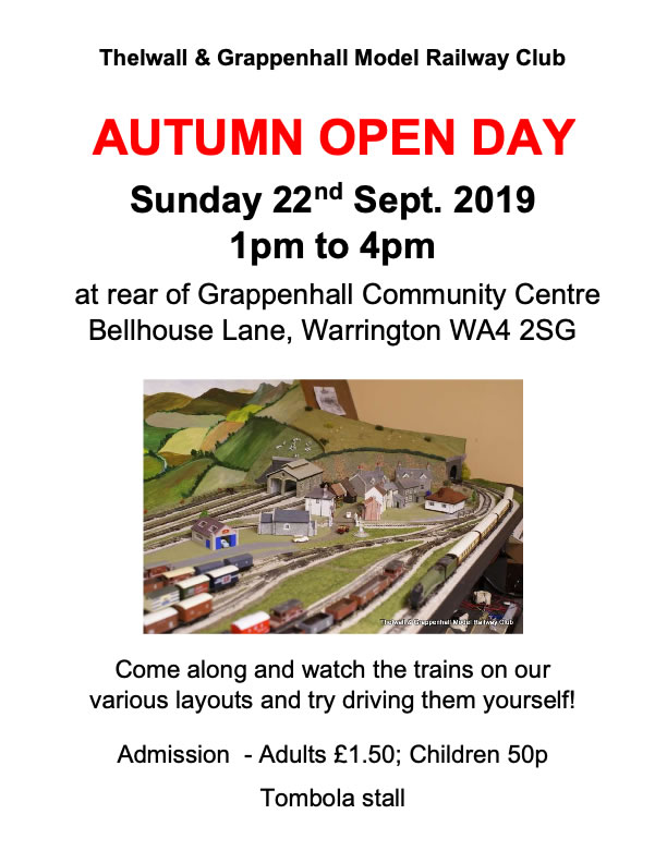 AUTUMN OPEN DAY 2019 Sunday 22nd September at the TGMRC, Warrington