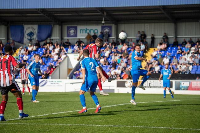 Josh Hancock heads home the equaliser at Chester on Saturday. Picture by Jonathan Moore
