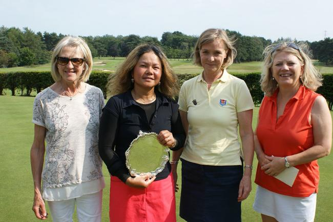 From left, Barbara Kay (Stockport GC lady captain), Wad Grayson, Jeanne Bell and Tiff Fielden