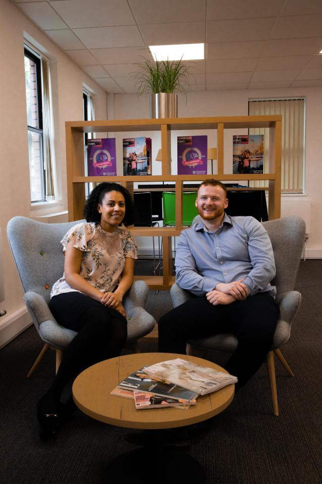 COSY: Katie Gray and Luke Doubleday, consultants for Advantage Resourcing at their new HQ in Sale