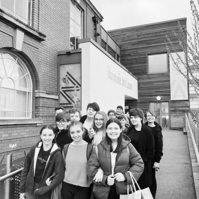 The cast are pictured outside Waterside Arts