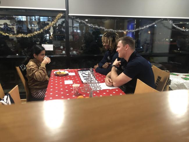 Marland Yarde and Chris Ashton chat to kids at the event