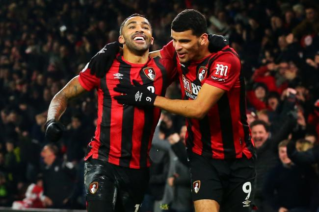Bournemouth's Callum Wilson celebrates scoring his side's third against Brighton