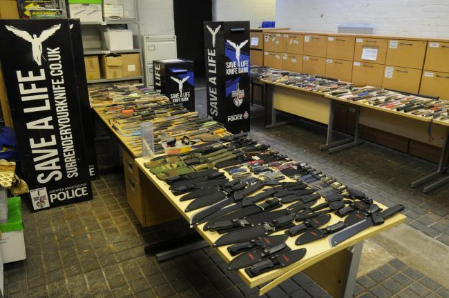 Images of knives handed in to GMP during a weeklong amnesty from Monday September, 16, to Sunday September, 22