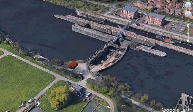 An aerial view of Irlam Locks