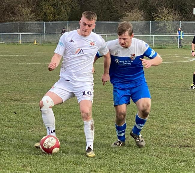 Goalscorer Max Hazeldine in action during the game