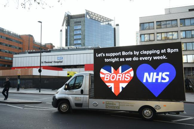 Billboard van outside St Thomas' Hospital in Central London where Prime Minister Boris Johnson is in intensive care