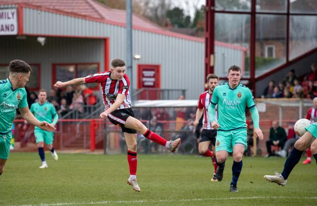 Josh Lundstram, in action against Spennymoor in the final game before the league shutdown, will be with Alty for the play-offs. Picture: Jonathan Moore
