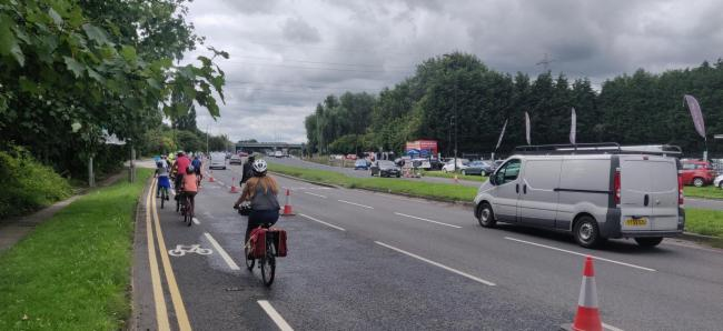 A56 pop up cycle lanes [image by Cheryl Law]