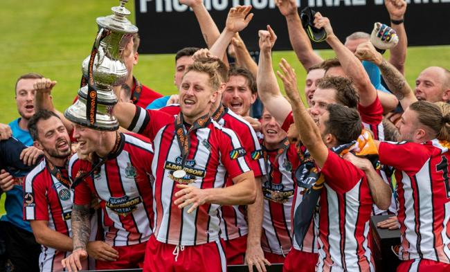 Altrincham celebrate victory in the National League North play-off final. Picture: Michael Ripley