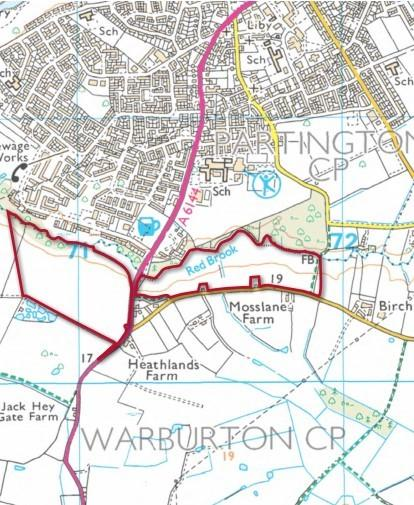 Land off Warburton Lane, the sites of the Redrow Homes bid
