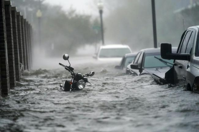 A flooded motorbike