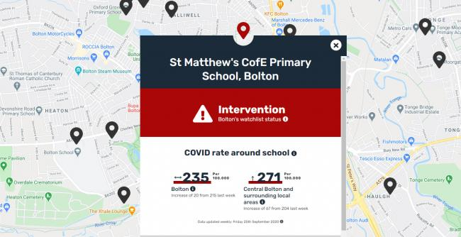 MAP: A Bolton school on website which maps out covid-19 rate near schools