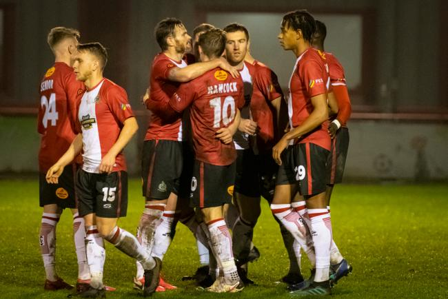 Altrincham celebrate Josh Hancock scoring the opening goal against Maidenhead. Picture: Michael Ripley