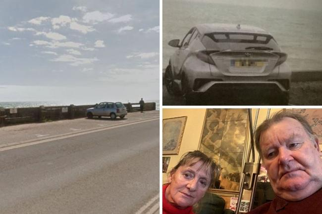 Left, the car park in Basin Road at Shoreham Port (Google). Right, Martin and Anne, and above, their car on the day they received the £100 fine