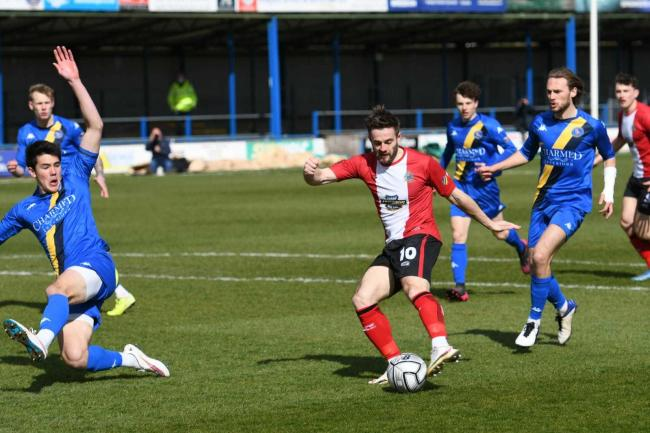 Altrincham's Josh Hancock is denied against King's Lynn. Pictures: Michael Ripley