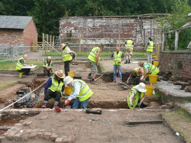 Archaeologists on the trail of the lost Melon House in the Upper Garden earlier this year