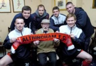 Jack celebrated his 97th birthday last year with Altrincham players Sam Hewson, Michael Welsh, Robbie Williams,Ryan Brown,James Smith and Shaun Densmore