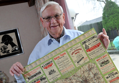 Noel White, life vice-president at the FA, with the 100-year-old map he found in his Bowdon home