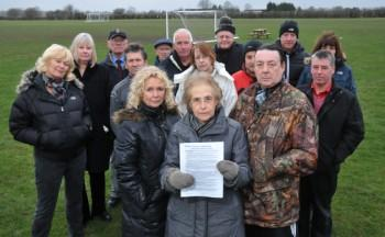 Residents protesting against the sports fields