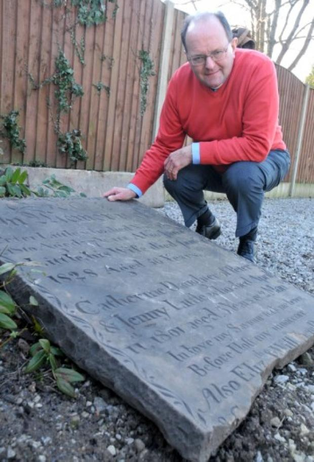 The Rev Peter Geddes and the headstone