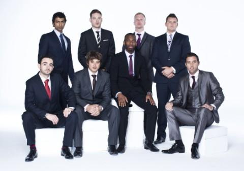 Duane (front row, third left) with the other male contestants.