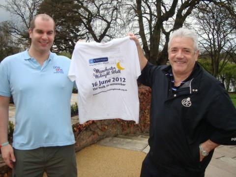 Kevin Keegan supporting the Manchester Midnight Walk  with Stephen Parkes