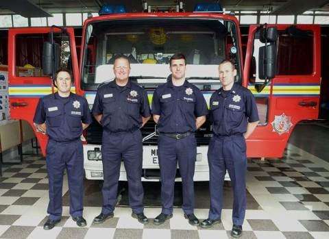 Gary (second left) and the Green Watch team