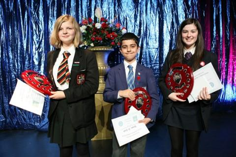(left to right) winners Mia Plummer, Hussain Al-Hilali, Ellie Regan