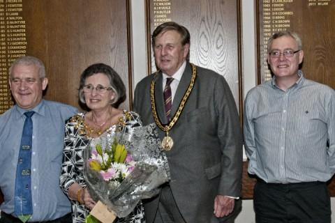 Club Chairman Ron (9G3SVW), the Mayor, Cllr Mrs Patricia Young, her Consort, Cllr Michael Young, and vice-chairman, Nigel (M6NDG)