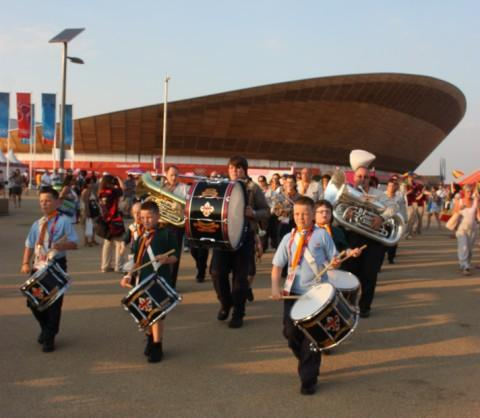 Davyhulme scout band play at Olympic Park
