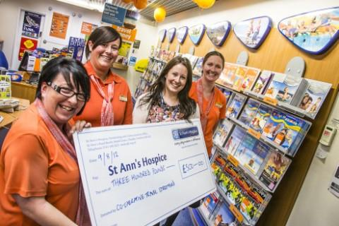 Vikki Lomas, left, is pictured with colleagues Laura Doyle, assistant manager, and Amanda Scott-Handley, branch manager, with Sarah Bennett from St Ann's Hospice, right