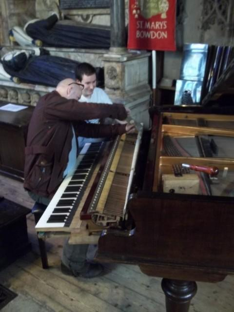 The piano being restored