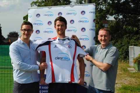 Brooklands skipper Peter Flanagan gets kitted out by the club's new sponsors, Clearsky accounting, with managing director Derek Kelly (right) and Chris Price doing the honours