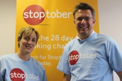 Kerry Briggs, smoking cessation lead, and Graeme Snell, tobacco control lead, encourage Trafford residents to stop