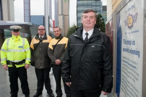 Messenger Newspapers: (L-R) Special Constable Danny Waller of the Greater Manchester Travel Safe scheme, Metrolink Passenger Service representatives Jonathon Darwin and Daniel Waller, and Cllr Roger Jones, vice at the MediaCityUK Metrolink stop, Salford