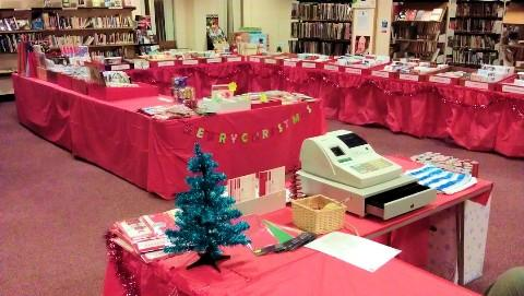 The charity Christmas card shop at Altrincham Library.