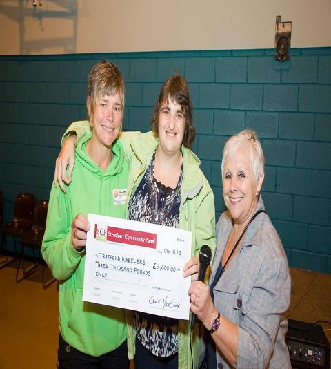 Trafford Wheelers L to R: Project Manager Helen Hines, member Lucy Watson and Chair of Stretford Community Panel Jan Howell.