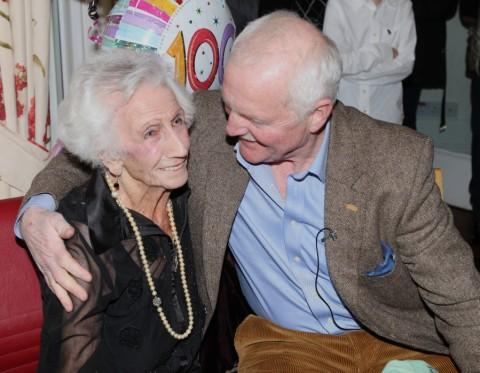 Lottie with Emmerdale actor Chris Chittell at her 100th birthday party