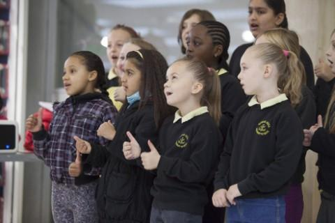 Stretford's Gorse Hill Primary School give a faultless performance at the official opening of Santa's grotto at Stretford Mall