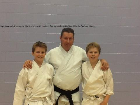 Martin Cockx with students Ted Vanderhook (left) and Charlie Redford (right