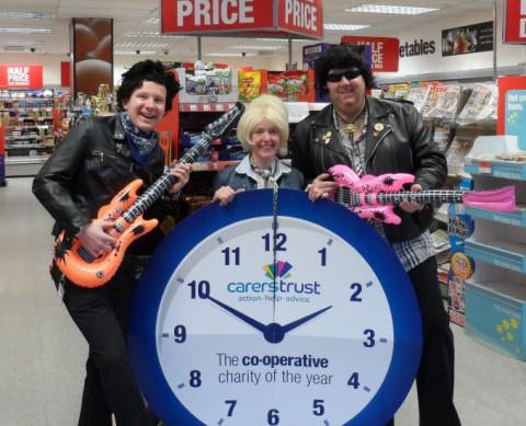 Members of staff from the Co-operative foodstore in Timperley rock around the clock - left to right: Craig Ostley-Brookes, Bernadette Dunne and Scott Livingstone (store manager)