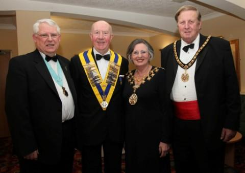 L-r Robert Strachan, Rotary district governor; Altrincham Rotary Club president John Edwards; the Mayor, Cllr Patricia Young; and her consort, Cllr Michael Young