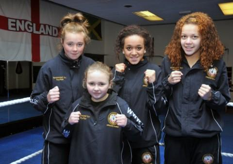 Youngsters training at Pele's Gym - Yasmin Swift, aged 11, Niamh Kinehan, 13, Paige Hughes, 15, and Keisha Nathanm, 15