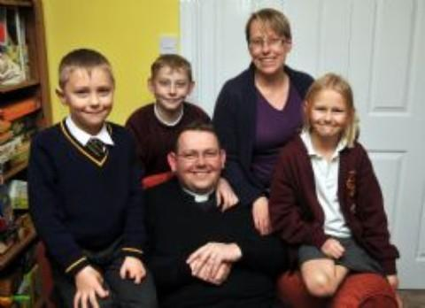 Fr Iain, his wife Fiona and children Tabatha, Benedict and Edward
