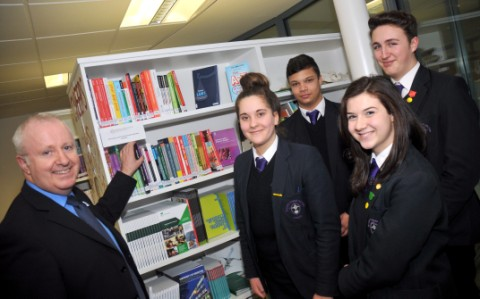 Headteacher John Connolly with pupils Jack Conteh, Martha Sheen, Nocole Fowler and Ben Cole