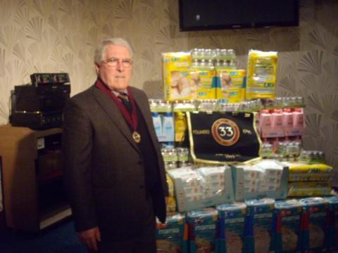 Messenger Newspapers: David Hulme, chairman of the 33, with the food goodies for Altrincham Foodbank