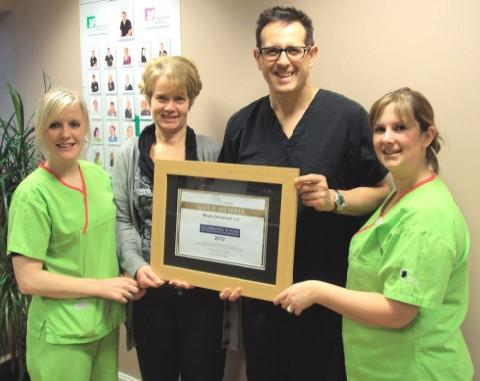 Left to right: Corrie Finn, Nicola Barnard (Practice Manager), Ian Hunt (Clinical Director) and Jenny Pimblett