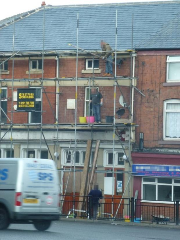 Trafford scaffolding firm caught on camera risking lives
