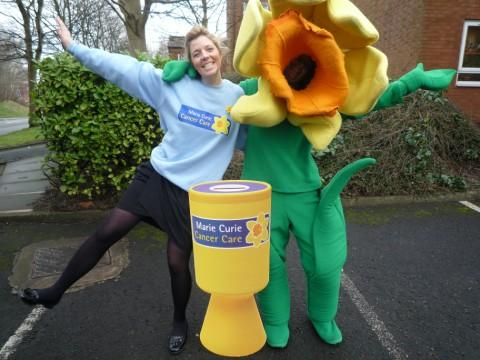 Community fundraisers Michelle Bate and Anne Marie Wynne dressed as the daffodil